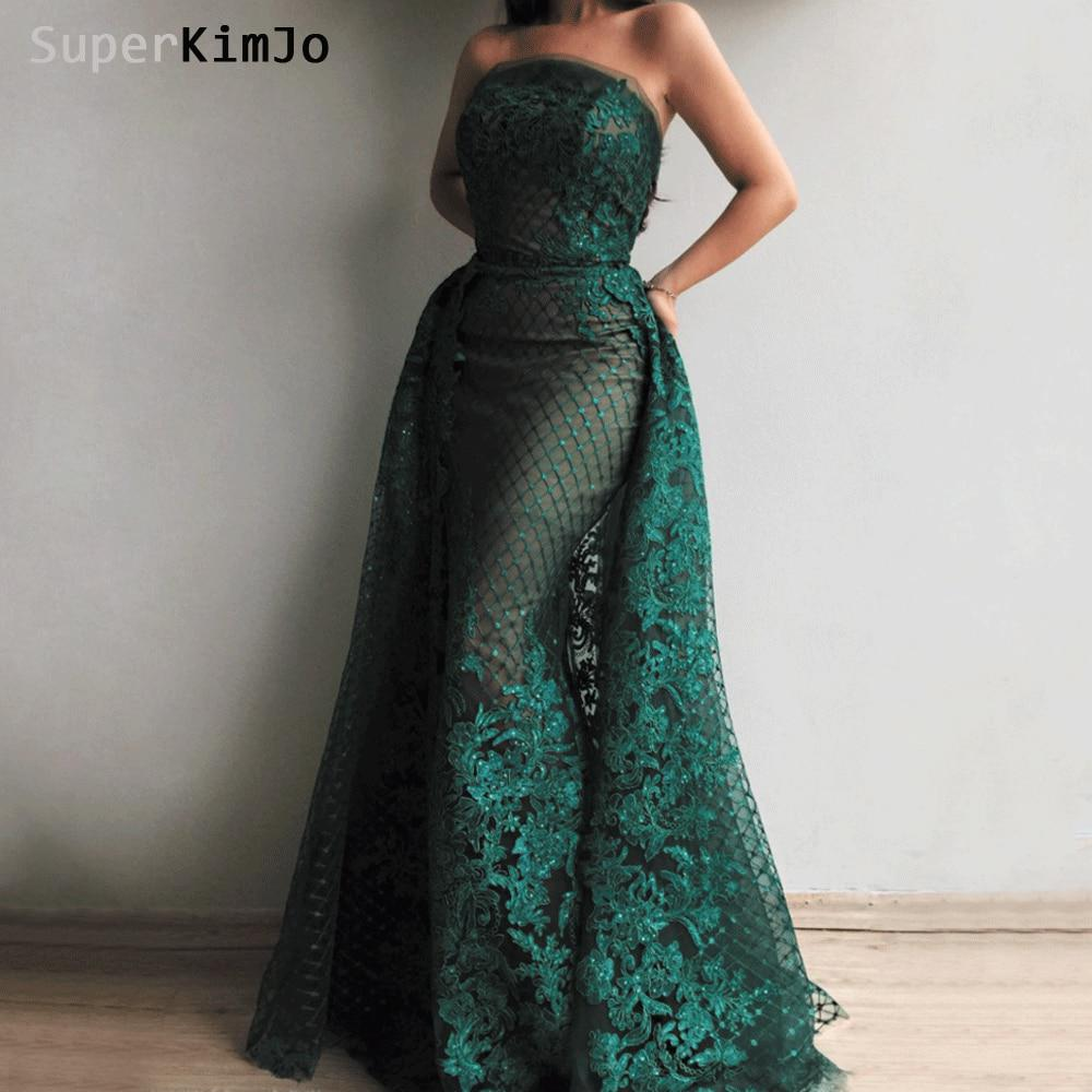 47dad4d4a07581 SuperKimJo 2019 Abendkleider Lace Applique Evening Dresses Long Detachable  Skirt Elegant Evening Gown Formal Dress