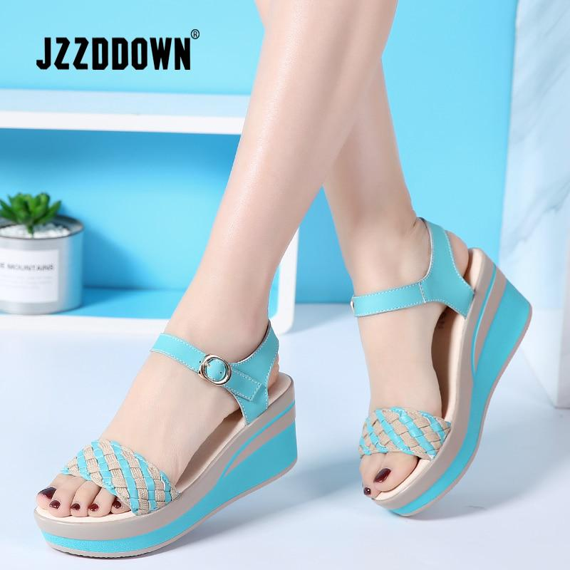 e63707f6eead JZZDDOWN Female Sandals Shoes Wedge Platform Leather Ladies Buckle Sandals  High Heels Woven Strap Sandals For