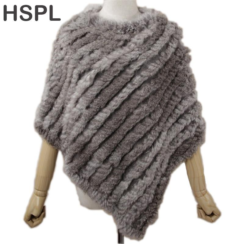 HSPL Fur Poncho 2017 Autumn Real Rabbit Hot Sale Triangle